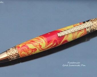 Handturned Firedancer Swarovski Pen
