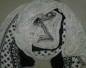 Long Scarf Indian Silk Sari Scarf Black and Pearl White Paisley LSF1