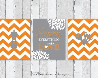 Kitchen Art Season Everything with Love Inspirational Prints with Chevrons - Set of (3) 5x7, 8x10 or 11x14 // Gray, Orange // Kitch