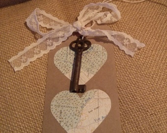 Kraft Gift tag with vintage key and 2 map hearts,  vintage and rustic, with or without lace ribbon