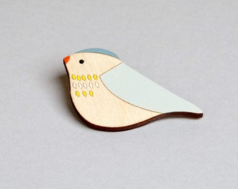 Wooden Bird Brooch - Pippet