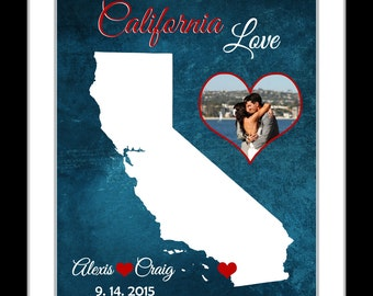 Wedding gift personalized map with photo anniversary gift her him california map wall art housewarming gifts for him birthday gifts for her