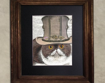 Dictionary Print: Impetuous Exotic Shorthair Cat, Steampunk Cat Art Print