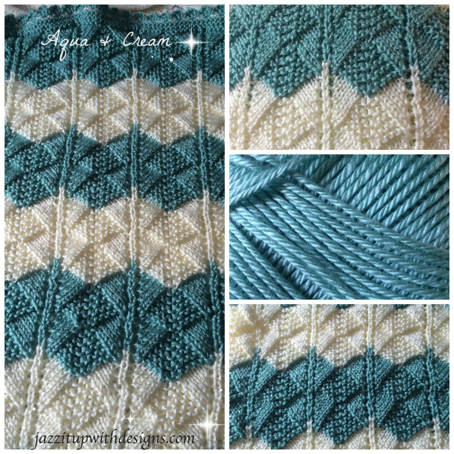 Caron Simply Soft Knitting Patterns : Baby Blanket Striped in Aqua Cream Lace Pattern Caron Simply