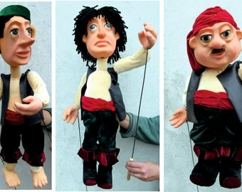 Rod professional Puppet. Town musicians of Bremen Puppets. Unique Puppet made to order