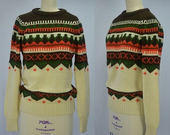"1970s Jantzen Fair Isle Acrylic Knit Sweater Wonderful Fall Colors Bust 35"""