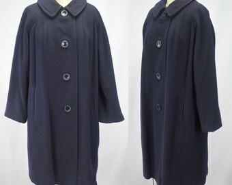 """1960s Cashmere Coat Navy Blue Bust 43"""" Impeccable"""