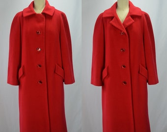 1960s Cashmere Yummy Tomato Red Coat Bust 40""