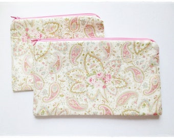 Large and small zip pouch purse cosmetic pouch make up pouch travel organizer coin purse pencil case pink rose
