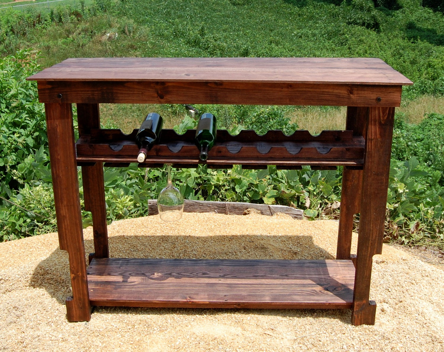 Wine Rack Table Modern Bar Console by LooneyBinTradingCo