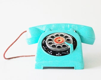 Let's Talk - 5x7 Print Vintage Telephone Fine Art Photograph - Turquoise - Aqua - Blue - Office - Studio
