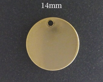 10pcs Gold Filled Stamping Blanks Round Disc 14mm 25ga - gold disc stamping blank - disc stamping blanks yellow gold