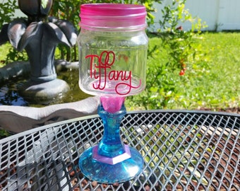 Personalized Mason Jar Wine Glass - Colored Glass - Shimmer Pink and Turquoise - ONE GLASS - Weddings - Bachelorette Parties- Birthday Party