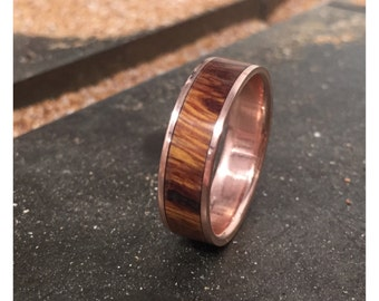 Mens Wedding Band 10K Gold with Wood Inlay Ring - Staghead Designs