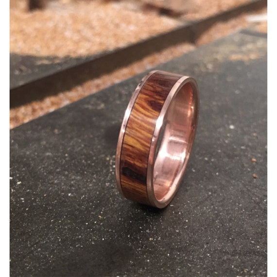 mens wedding band 10k gold with wood inlay by stagheaddesigns