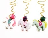 Pony necklace-horse necklace-little girl pony necklace-initial letter necklace- little girl necklace-little girl jewelry