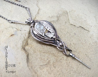 Steampunk Sterling Silver Wire Wrap Elgin Watch Movement Drop Pendant Necklace (S6)