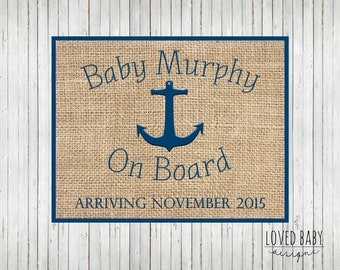 Nautical Baby Announcement, New Baby Announcement Sign - DIY, Printable