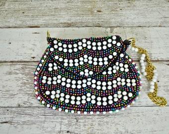 Vintage Beaded Purse, Vintage Beaded Handbag, Multi-Colored Beaded Bag, Boho Beaded Bag