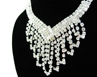 Rhinestone Waterfall Bridal Statement Necklace Wedding Necklace