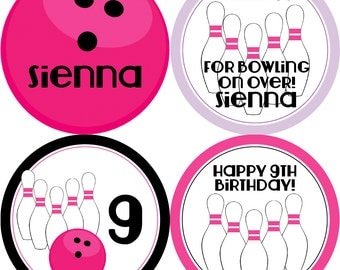 Bowling Party Circles - Hot Pink Black Purple, Girls Bowling Ball Pins, Bowling Personalized Birthday Party Circles - Digital Printable File