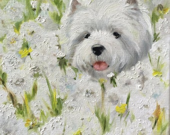 "PRINT White Westie West Highland Terrier Dog Puppy  Spring flowers wildflower ""Dandelions"" / Mary Sparrow pet portraits"