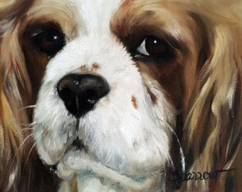 "PRINT Tri color Cavalier King Charles Spaniel dog pet portrait print of painting ""Here's looking at you"" Mary Sparrow UNSTRETCHED"