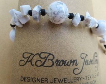 Gemstone Bracelet, White Howlite Beaded Bracelet, Howlite Beadwork Bracelet, Handmade Jewellery in UK, Designer Jewellery, K Brown