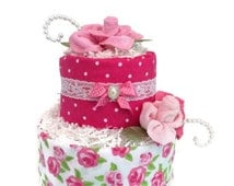 Baby Shower Diaper Cake, Shabby chic baby shower,  Pink, Rose, Baby Shower Gift, Shabby Chic, Decorations, baby girl