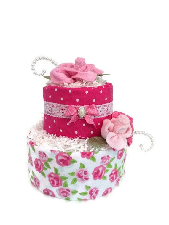 Baby shower diaper cake shabby chic baby shower pink rose baby