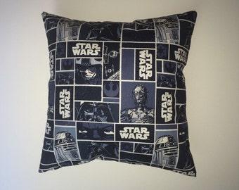 Throw Pillow - navy blue Star Wars print