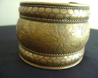 Vintage Brass Chunky Cuff Bracelet