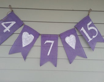 save the date burlap banner, personalized with your date. wedding, party, bridal shower.