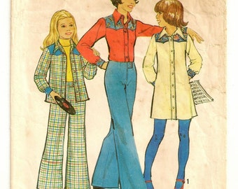 "A Front Button Long Sleeve Shirtdress and Shirt, and Wide Leg, No Waistband Pants Sewing Pattern: Girls Size 7, Breast 26"" • Simplicity 6590"
