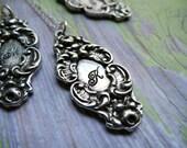 Monogram jewelry, Silver Personalized Initial Necklace, Heirloom Monogram Necklace, Custom Pendant, Silverware Jewelry, Bridesmaid Gift