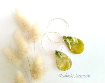 Green Seashell Hoop Earrings, Handmade
