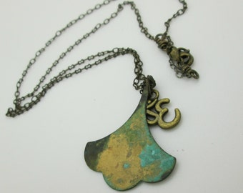 Ginkgo Leaf Pendant, Patina Brass Pendant with Brass Ohm Charm, Yoga Pendant, Meditation Pendant