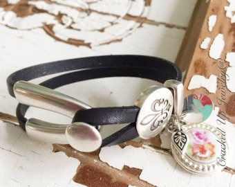 Broken China Jewelry.  Leather Bracelet,  Antique China Charm & Fleur De Lis, Leaf Charm, Black Leather, Recycled China