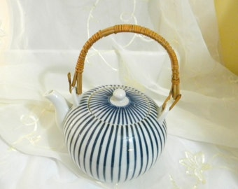 Blue and White Striped Teapot, Rattan Handle, Porcelain, Vintage, Made in Japan, Mid Century