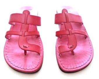 Pink Leather Sandals, Leather Sandals Women, Sandals, Women's Shoes, MENTA, Biblical Sandals, Jesus Sandals