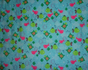 Blue Girly Turtle/Fish Flannel Fabric by the Yard