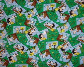 Green Peanuts Gang/Snoopy St Patrick's Day Cotton Fabric by the Half Yard