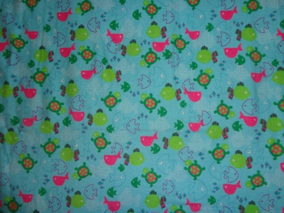 Blue girly turtle fish flannel fabric by the yard by for Fish fabric by the yard
