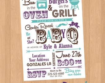 Baby BBQ Baby-Q Gender Reveal Party Printable