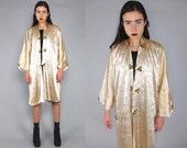 Vtg 90s Satin Nude Gold Oriental Asian Floral Print Duster Kimono Jacket M L