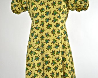 ON SALE Vintage 1960s Sweet and Darling Girly Summer Dress in Mustard Yellow with Dainty Floral Print