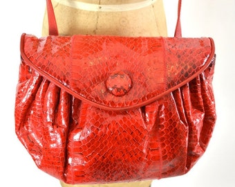 ON SALE RED Snakeskin Bag: