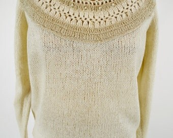 ON SALE 60s WINTER Sweater: Cream Sweater // 60s Beaded Sweater // 60s Wool Sweater // 60s Designer Sweater