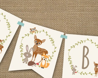 Woodland Baby Shower Banner For A Boy   Instantly Downloadable And Editable  File   Personalize At