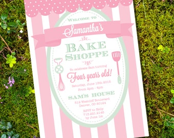 Bake Shoppe Birthday Party Invitation for a Girl - Baking Party Invitation - Instant Download - Edit File at home with Adobe Reader